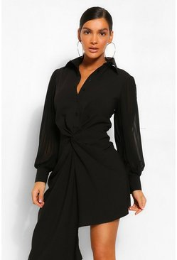Black Pleated Sleeve Draped Shirt Dress