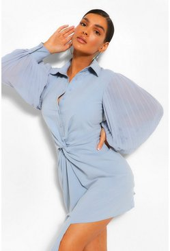 Blue Pleated Sleeve Draped Shirt Dress