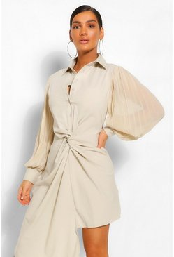 Stone beige Pleated Sleeve Draped Shirt Dress