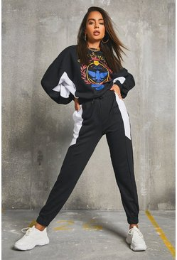 Black 'Nashville' Colour Block Batwing Sweater & Joggers