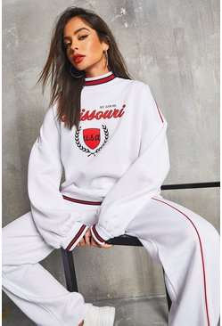 White 'Missouri' Piping Detail Oversized Sweater