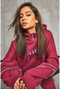 Berry red 'NYC' Balloon Sleeve Oversized Hoody