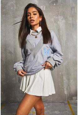 Grey Double Neckline College Appliqué Oversized Sweater