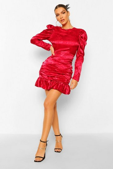 Berry red Jaquard Satin Puff Sleeve Rouched Mini Dress