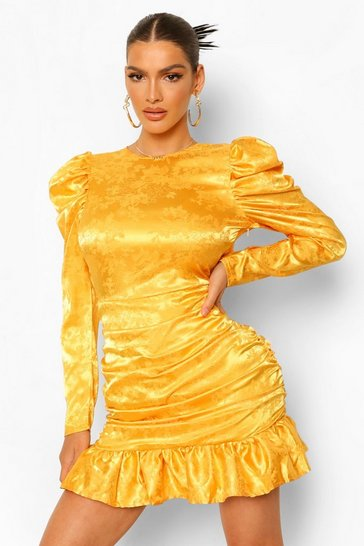 Mustard yellow Jaquard Satin Puff Sleeve Rouched Mini Dress