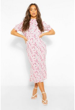 Blush pink Floral Draped Puff Sleeve Midaxi Dress