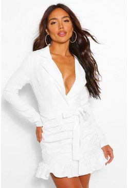 White Rouched Tie Waist Plunge Blazer Dress