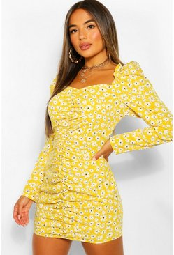 Mustard yellow Petite Floral Sweetheart Ruched Mini Dress