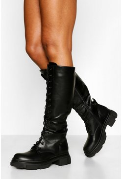 Black Chunky Sole Lace Up Knee High Hiker Boots