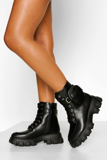 Black Pouch Detail Chunky Sole Hiker Boots