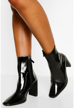 Black Square Toe Block Heel Sock Boots