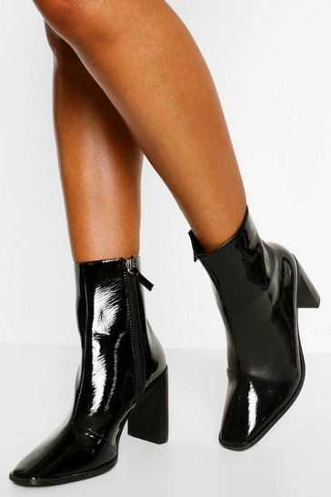 Black Square Toe Block Heel Shoe Boots