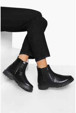 Black Croc Chunky Chelsea Boots