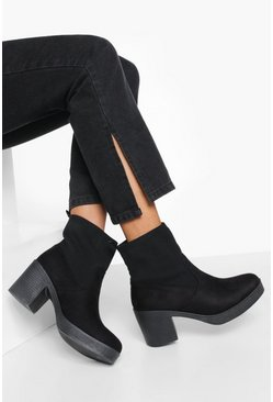 Black Block Heel Chunky Sock Boots