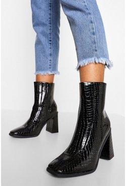Black Croc Block Heel Square Toe Shoe Boots