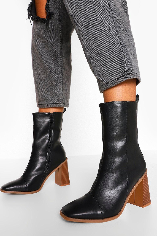 Sale Boots Block Heel Square Toe Shoe Boots