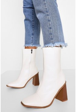 White Block Heel Square Toe Shoe Boots