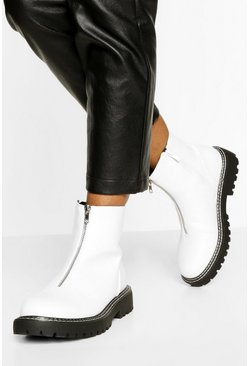 White Double Stitch Detail Zip Front Biker Boots