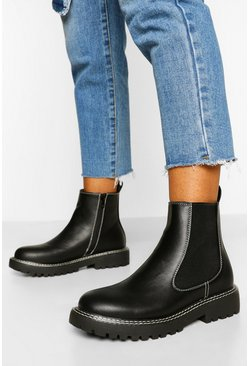 Black Double Stitch Detail Chunky Chelsea Boots