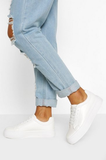 White Basic Platform Lace Up Trainers