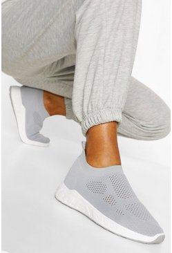 Basic Knitted Sock Trainers, Grey