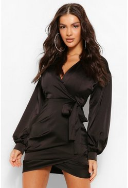 Black Satin Wrap Puff Sleeve Mini Dress