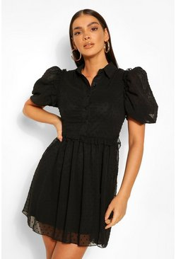 Black Puff Sleeve Button Down Skater Dress
