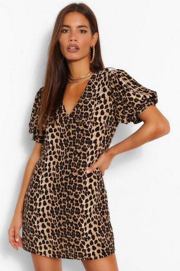 Brown Leopard Print Plunge Puff Sleeve Shift Dress