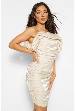 Cream white Extreme Ruffle Diamante Strap Mini Dress
