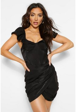 Black Puff Ball Sleeve Corset Wrap Mini Dress