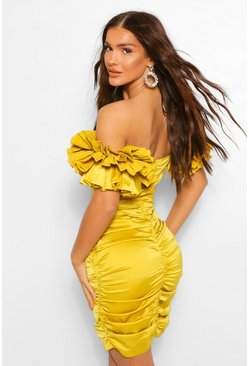 Chartreuse yellow Deep V Ruffle Sleeve Bodycon Mini Dress