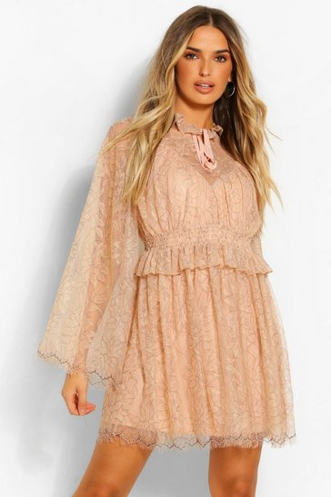 Nude High Neck Ruffle Lace Detail Skater Dress
