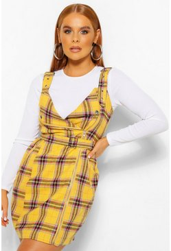 Mustard yellow Check Biker Detail Pinny Dress
