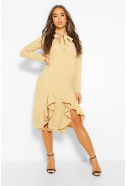 Stone beige High Neck Pussybow Midi Dress