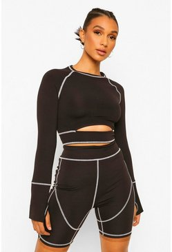 Black Fit Premium Contrast Stitch Cutout Long Sleeve Top