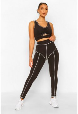 Black Fit Premium Contrast Stitch Leggings