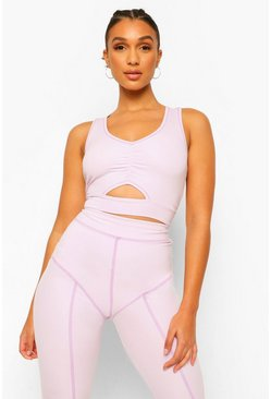 Lilac purple Fit Premium Contrast Stitch Sports Bra