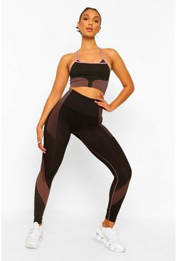 Black Fit Woman Seamless Contour Gym Leggings