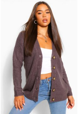 Charcoal V Neck Fisherman Cardigan
