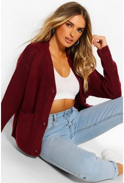Berry Boxy Pocket Cardigan