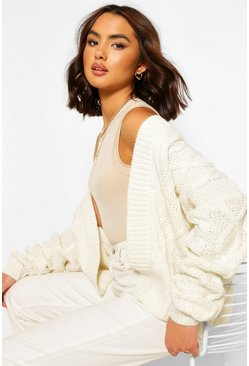 Crop Cable Edge To Edge Cardigan, Ivory