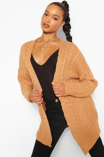 Camel Cable Edge To Edge Cardigan