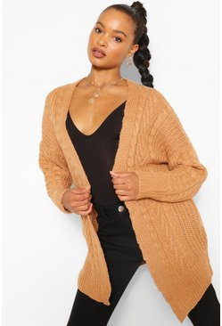 Camel beige Cable Edge To Edge Cardigan