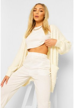 Cream white Fluffy Knit Edge To Edge Midi Cardigan