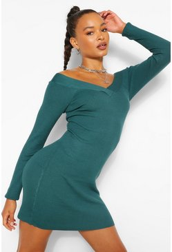 Teal Off The Shoulder Rib Knit Mini Dress