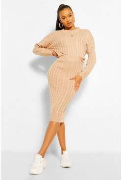 Biscuit beige Cable Knit Midi Skirt Co-ord