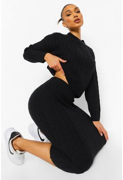 Black Cable Knit Midi Skirt Co-ord