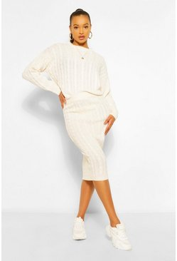 Ivory white Cable Knit Midi Skirt Co-ord