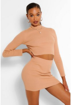Camel Rib Knit Mini Skirt Co-ord