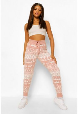 Pink Hearts Fairisle Christmas Legging
